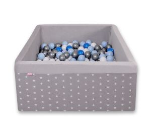 Ball-pit minky with balls 200pcs - gray stars