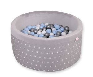 Ball-pit minky with balls - gray stars