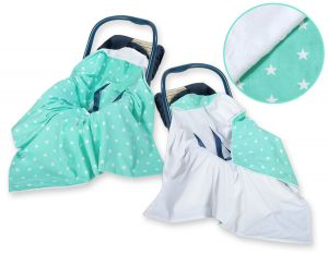 Double-sided car seat blanket- Mint stars