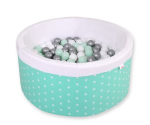Ball-pit minky  with balls - mint Stars