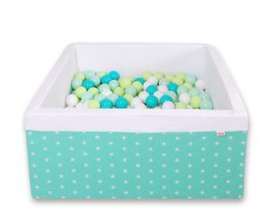Ball-pit minky with balls 200pcs -  mint Stars