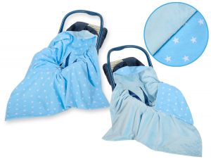 Double-sided car seat blanket- Blue stars