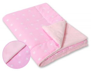 Double-sided blanket minky- Pink stars