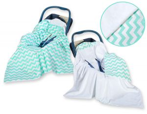 Double-sided car seat blanket- Chevron mint