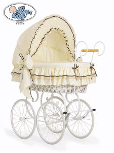 Retro wicker crib Emma - Cream