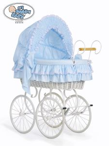 Retro wicker crib Victoria - Blue