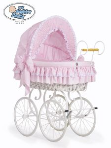 Retro wicker crib Victoria - Pink