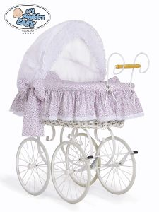 Retro wicker crib Jasmine - White - pink with lace