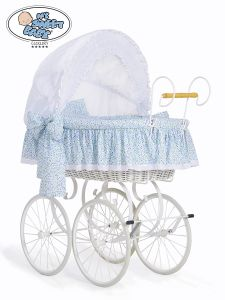Retro wicker crib Jasmine - White - blue with lace