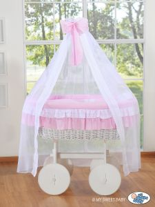 Wicker drape crib Deluxe- Bellamy pink