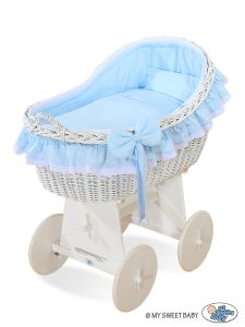 Moses Basket/Wicker hood crib Carina- Blue