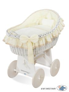 Moses Basket/Wicker hood crib Carina- Cream