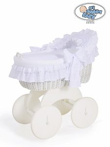 Moses Basket/Wicker hood crib Charlotte- White with lace