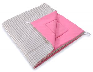 Double-sided teepee playmat- Grey checkered-pink