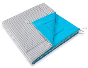 Double-sided teepee playmat- Grey checkered-turquoise