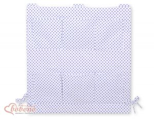 Cot tidy- white with navy blue dots