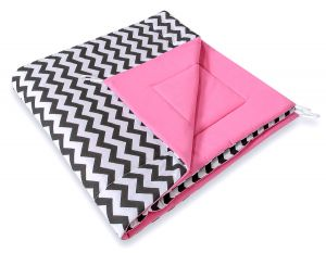 Double-sided teepee playmat- Chevron black/ pink