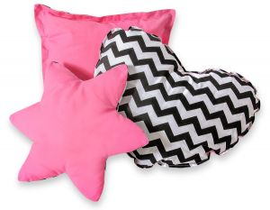 3pcs pillow set - Chevron black/ pink