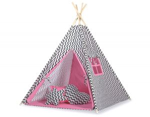 MEGA TEEPEE SET: Teepee tent+playmat+pillows - Chevron black/ pink