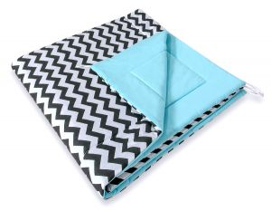 Double-sided teepee playmat- Chevron black/ blue