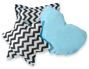 3pcs pillow set - Chevron black/ blue