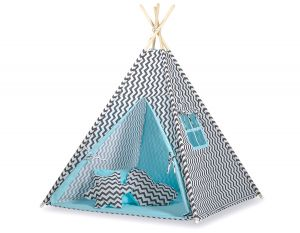 MEGA TEEPEE SET: Teepee tent+playmat+pillows - Chevron black/blue