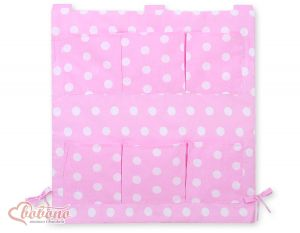 Cot tidy- pink with dots