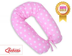 Pregnancy pillow- white dots on pink