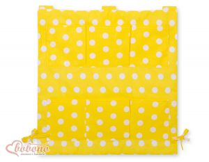 Cot tidy- yellow with dots