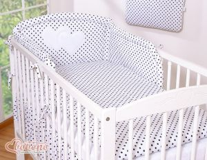 Universal bumper- Hanging Hearts black dots on white