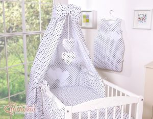 Bedding set 5-pcs with canopy- Hanging Hearts black dots on white