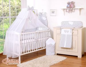 Bedding set 5-pcs with mosquito-net- Hanging Hearts black dots on white