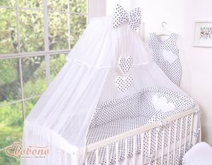 Mosquito-net made of chiffon- Hanging Hearts black dots on white