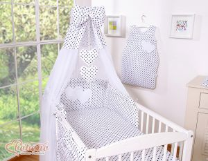 Canopy made of Chiffon- Hanging Hearts black dots on white