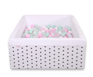 Ball-pit minky with balls 200pcs - black Stars