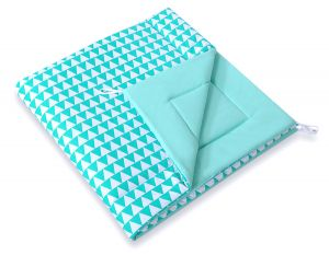 Double-sided teepee playmat- triangles mint