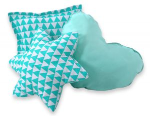 3pcs pillow set - triangles mint