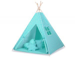 MEGA TEEPEE SET: Teepee tent+playmat+pillows - triangles mint