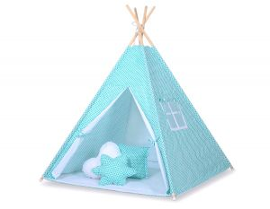 Teepee tent- Mint flowers/white
