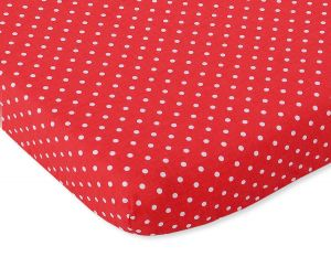 Sheet made of cotton 140x70cm white polka dots on red