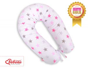 Pregnancy pillow- Grey-pink stars