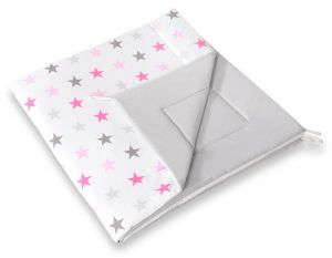 Double-sided teepee playmat- Grey-pink stars/grey