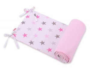 Universal bumper for cot - stars gray - pink /pink