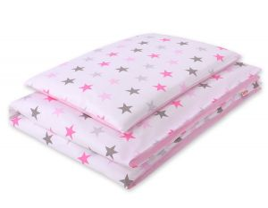 Bedding set 2pcs 100x135 Mini - stars pink -gray/ pink