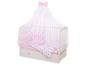 Bedding set 5-pcs with mosquito-net -  stars gray - pink/ pink