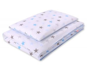 Bedding set 2pcs 100x135 Mini - stars gray -blue