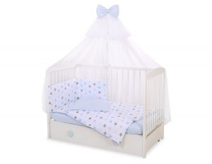 Bedding set 5-pcs with mosquito-net -gray -blue stars