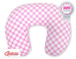 Feeding pillow- pink with white dots