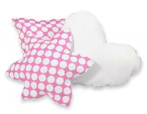 3pcs pillow set -  pink with white dots