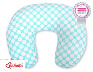 Feeding pillow- turquoise with white dots